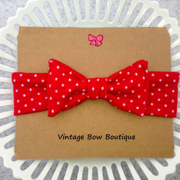 Stretch bow headband - retro bow headband - red polka dot - bow head wrap - feminine
