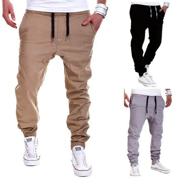 Mens Low Crotch Khaki Joggers 2017 Brand Male Trousers Men Pants Casual Solid Pants Joggers Sweatpants Jogger Large Size XXXL
