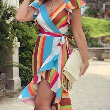 Polychrome Stripe V-neck Tie Waist Ruffle Hem Chic Women Mini Dress