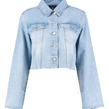 Lauren Exposed Zip Flare Cuff Denim Jacket | Boohoo
