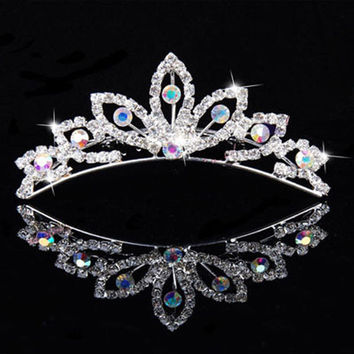 New Color Elegant Pearl Rhinestone inlay Crown Tiara Hair Comb NW