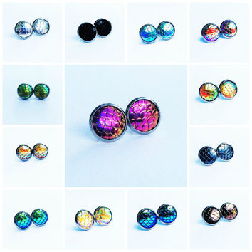 Hypoallergenic Earrings Studs Mermaid Scale Round Stainless Steel Custom Color Stud Earrings Boho Jewelry 12MM