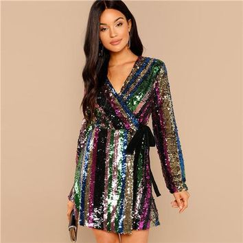 Color Block Wrap Sequin Dress