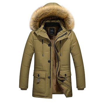 Men's Fur Lined Jacket Thick Long Warm Winter Fit Hooded Coat Overcoat men winter jackets mens cotton coats outwear Asia size