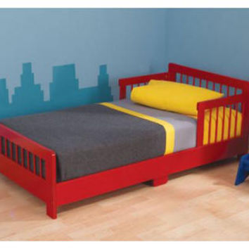 Red Slatted Toddler Bed
