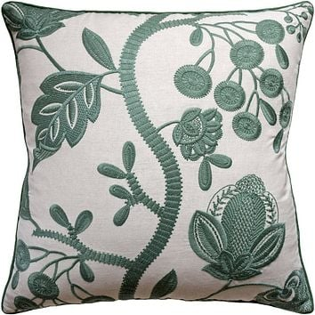 Alladale Embroidery Jade Decorative Pillow