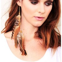 Chain Drop Feather Cluster Earring