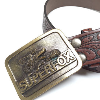 80s SUPERFOX Belt Buckle on Leather Belt | Radar Detector Brand | Unique Funny Vintage Western Belt Buckle | Fox Biker Tooled Leather Belt