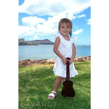Makamae White Hawaiian Girl Cotton Dress