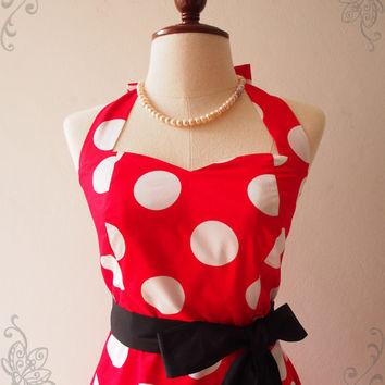 Red Polka Dot Skater Dress Big Dot Stunning Christmas Valentine Dress - High Quality Handmade Dress - Halter Summer Sundress ,XS-XL, custom