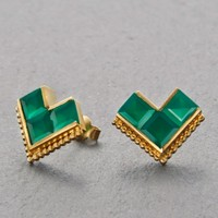 Nallur Green Onyx Earrings Gold by KINSFOLK | FASHION Earrings | 1ofa100