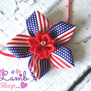 Fourth of July, American Flag Newborn Girl Ribbon Flower Headband, Baby Headband,  baby girl headbands Americana props