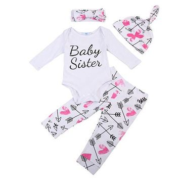 Infant Baby Girls Clothes Sets Bodysuit Long Sleeve Floral Pants Headbands Hat Outfits Clothing 4pcs Set Baby Girl
