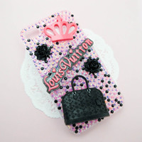 READY TO SHIP Lv Bling Pink Black Bling Handmade iPhone 4/4S Decoden Case