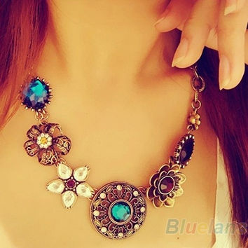 European Style Fashion Gorgeous Austria Crystal Flowers Bib Statement Necklace, vintage ,retro style , tribal jewelry , women's fashion = 1651263684