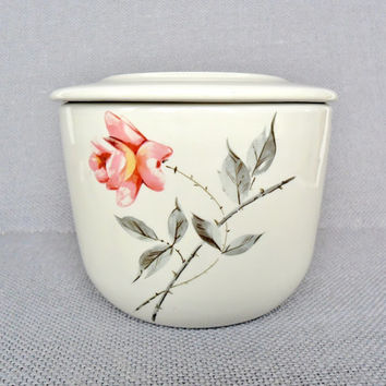 Vintage Refrigerator Bowl Jar 1950s China Universal Ballerina Comde Rosette Mid Century Kitchen Pink Flowers Shabby Cottage Chic Style Decor