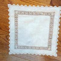 Vintage Drawnwork Drawn Work Hanky Handkerchief Hankie White Wedding Bridal Free US Shipping