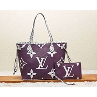 LV Louis Vuitton New fashion monogram print handbag shoulder bag two piece suit women Purple