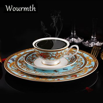 Wourmth Hotel Home Restaurant Bone China Dinner Service Western Beef Steak Dish Refreshment Plates Coffee Cups Saucers Sets