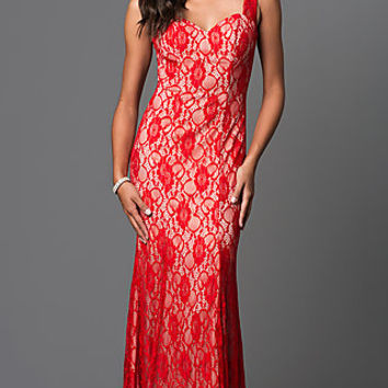 Long Lace Sleeveless Sweetheart Dress by Elizabeth K