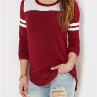 Burgundy Athletic Striped Tunic Top