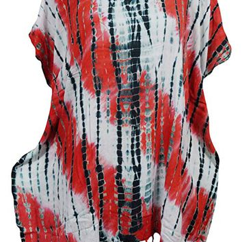 Women's Kimono Caftan Tassel Rayon Tie Dye Cover Up Dress