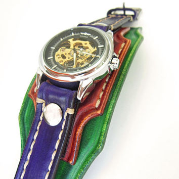 Ladies Watch, Wrist Watch,  Woman Watch, Green, Brown, Purple  leather Watch cuff, Bracelet Watch