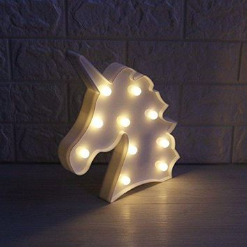 Unicorn Night light, Lamp Kids Marquee Letter Lights Unicorn shape Signs Light Up Christmas Party Wall Decoration Battery Operated Children Night lamp, Baby Nursery Lamp Bedroom light (White)