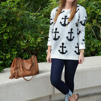 Stay Anchored Sweater - White