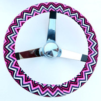 Hot Pink Black and White Chevron Steering Wheel Cover