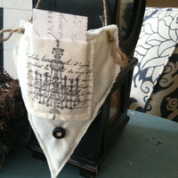 Flour sack hanging basket with pocket, sachets, herb basket, farmhouse decor