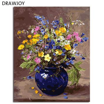DRAWJOY Framed DIY Painting By Numbers Flower DIY Digital Canvas Oil Painting Home Decor For Living Room Wall Art