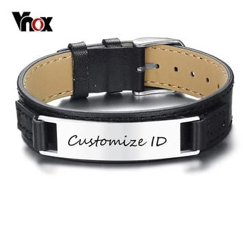 Vnox New Stylish Men's Black Genuine Leather Bracelet Free Engraving 12MM Customized ID Pulseira Masculina Length Adjustable