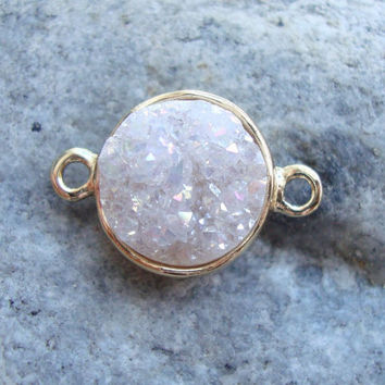 Pearl Like Druzy Drusy Pendant Set in Gold Tray, Double Bail Connector round pendant, 10mm druzy stone - 1pc