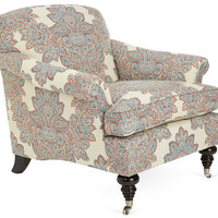Kim Salmela, Joplin Paisley Chair, Blue/Orange, Club Chairs