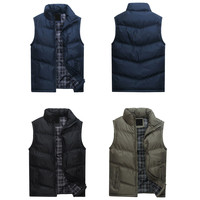 Solid Color Zipper Front Puffer Vest