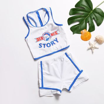 kids boy swimwear vest and trunks two pieces swimsuit sleeveless kinder children sport beach wear bathing suits 2018