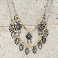 Longline Layered Charm Necklace