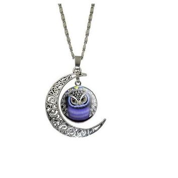 Round Glass Owl Moon Animal Pendant Necklaces