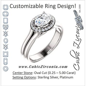 Cubic Zirconia Engagement Ring- The Elaine Li (Customizable Oval Cut Style with Halo, Wide Split Band and Euro Shank)