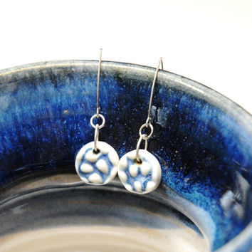 Dot Blue earrings,Pottery earrings,Ceramic earrings,Blue clay earrings,Clay dangle earings,stoneware earrings,Blue drop earrings,sterling