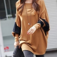 Coffee Blends Women Fashion Round Neck Bat Sleeve New Korean Autumn Style Simple Casual Loose Tops One Size FZ72489-28co (Size: M, Color: Coffee) = 1920381828
