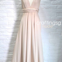 Bridesmaid Dress Infinity Dress Nude Floor Length by craftingsg