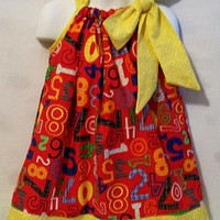Girls Pillowcase Dress,Numbers on Red Girls Dress, #2