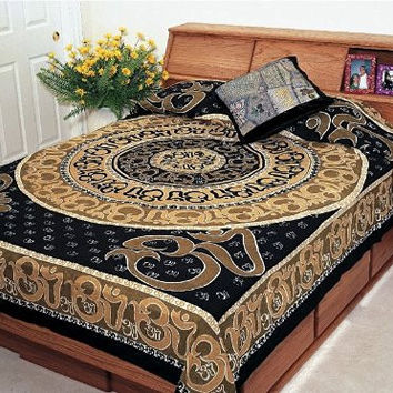 """Hippie/Indian Tapestry/Wall/Bedspread/Tablecloth Cotton Om Print Beige Twin Size 70"""" x 104"""" SS072-04"""
