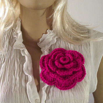 CROCHET FLOWER PATTERN Pin Embellishment Brooch