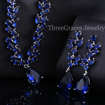 ThreeGraces Luxury Bridal Jewelry Set Royal Blue Zirconia Crystal Big Drop Earrings And Necklace Sets For Wedding Women JS060