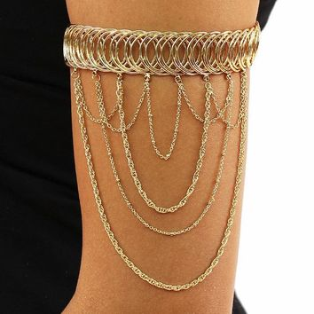 "4"" dangle chain bangle cuff stretch bracelet upper arm cuff"