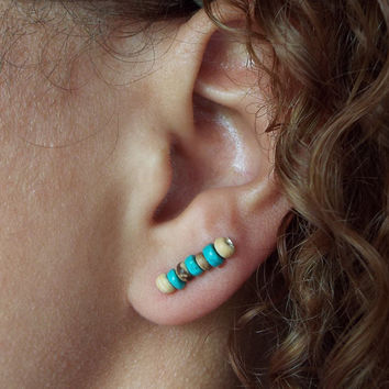 Amber Wood and Turquoise Ear Cuff / Ear Bar / Ear Pins / Dainty Earrings / Small Studs / Dangle Earrings