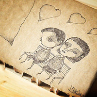 Lovers on a bench - original pen ink drawing on recycled paperboard - OOAK Valentines Day gift